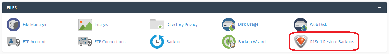 Files section of cPanel with R1Soft Restore Backups circled